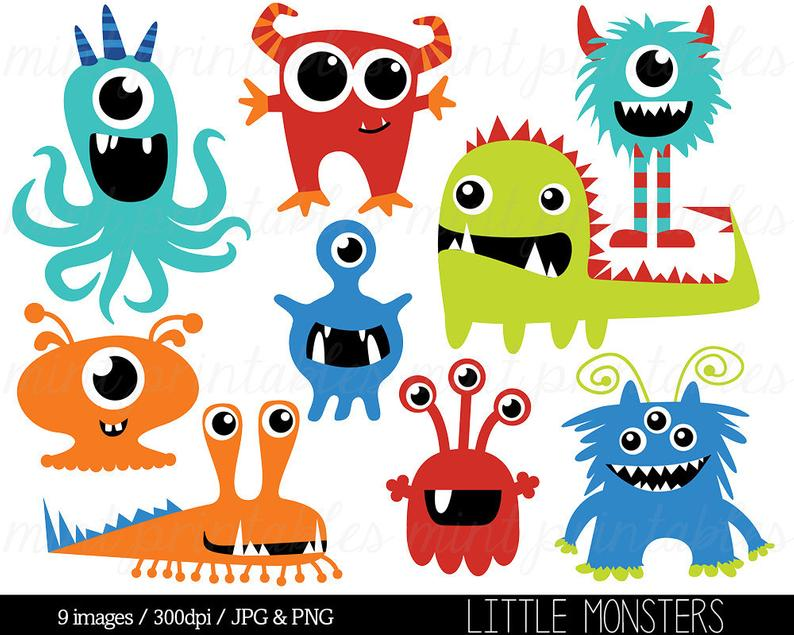 Monster Clipart, Monsters Clip Art, Birthday Clipart, Monster Party, Cute  Monsters, Blue Red.