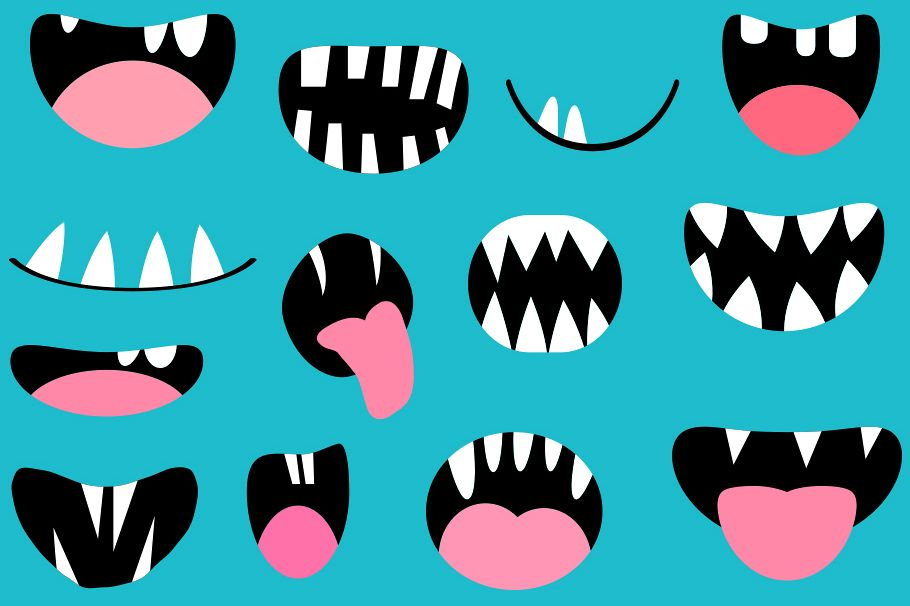 Funny monster mouths clipart set Halloween teeth and tongues.