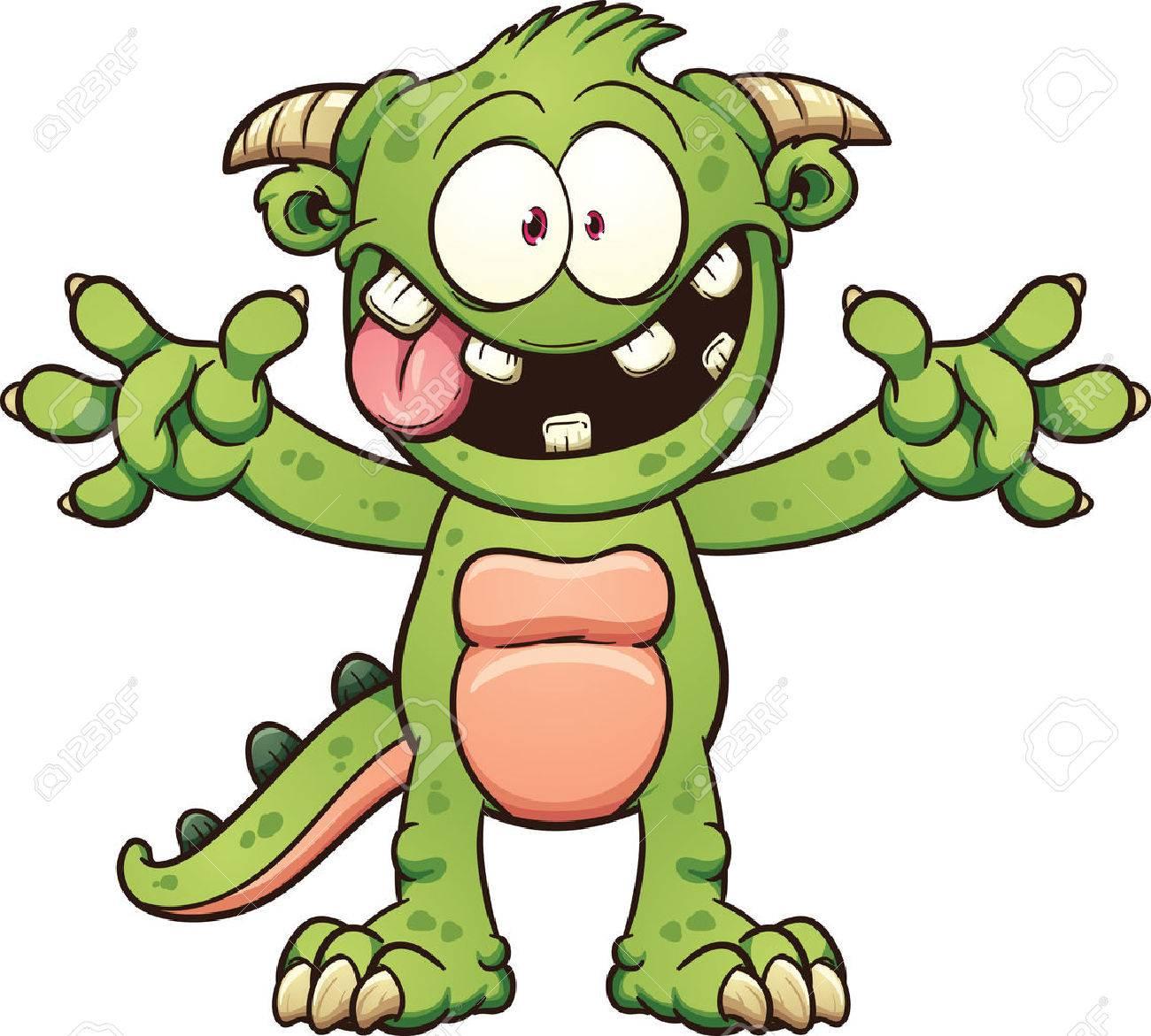 Green cartoon monster. Vector clip art illustration with simple...