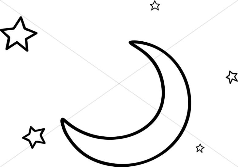 Line Art Moon and Stars.
