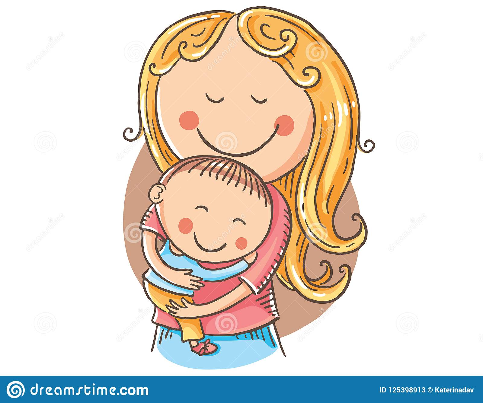 Happy Cartoon Mother With A Child, Vector Clipart Stock Vector.