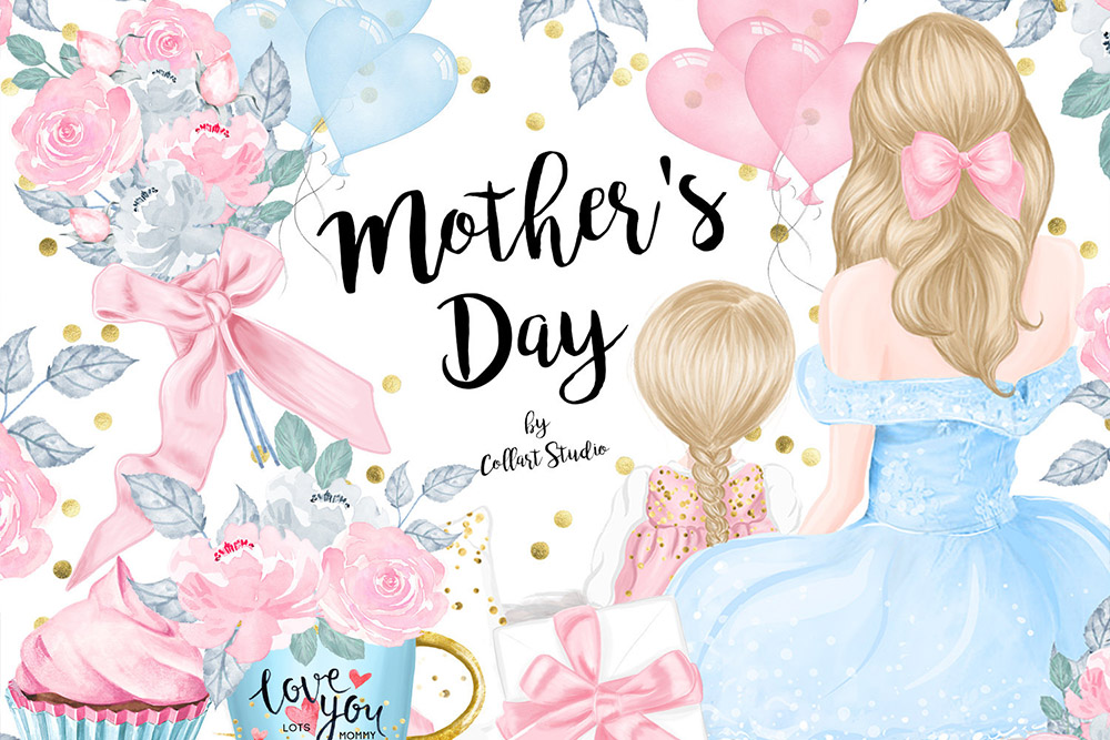 Mothers Day Clip Art, Mother Child Illustrations, Family.