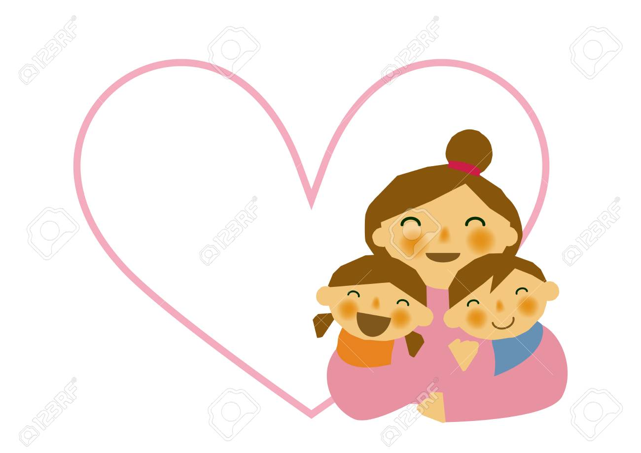 Mother's Day sticker. Parent/child stickers. Clip art of mother...