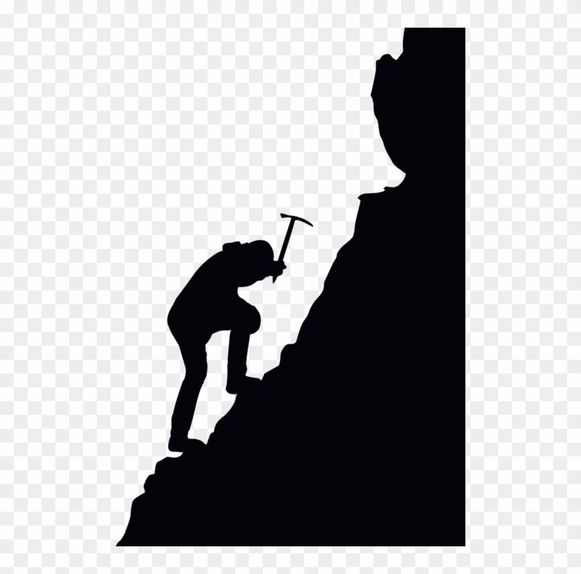 Mountaineering Free Climbing Silhouette.