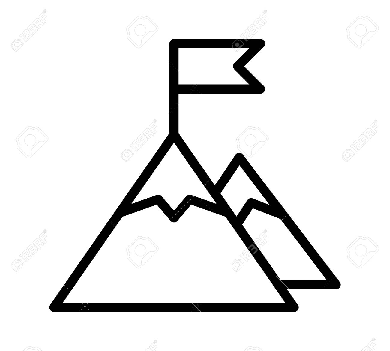 Mountain peak top with flag or goal with high ambitions line...