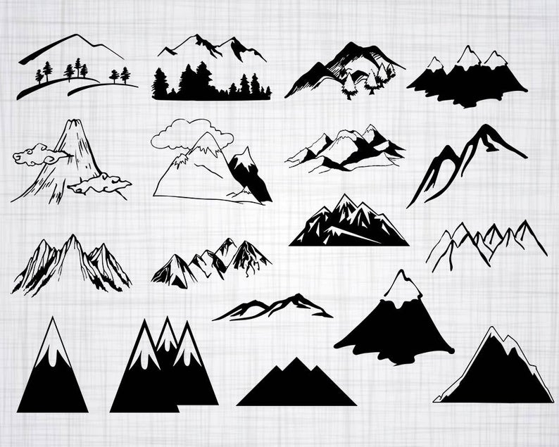 Mountain SVG Bundle, Mountain SVG, Mountain Clipart, Cut Files For  Silhouette, Files for Cricut, Vector, Mountain Top Svg, Dxf, Png, Design.