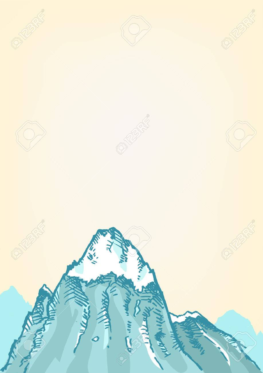 Hand drawn style of a Freezing Mountain top. Editable Clip art..