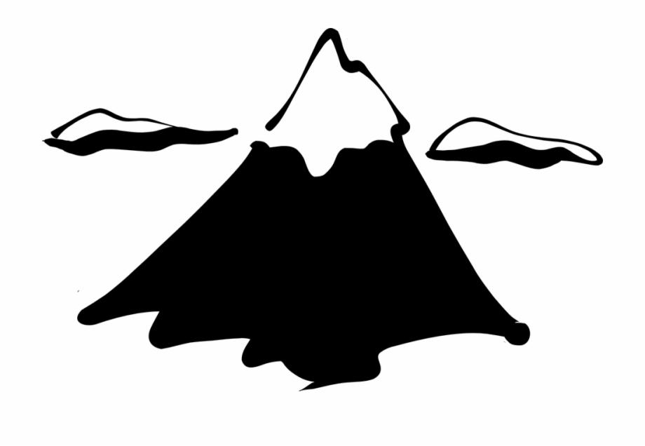 Mountain Top Snow Snowy Peak Silhouette Sketch.