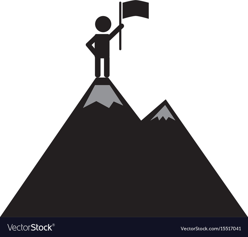A man on the mountain top icon on white.