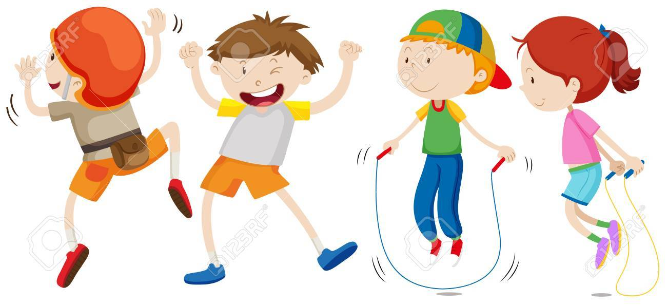 Boys and girl in different movement illustration.