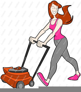 Girl Mowing Lawn Clipart.