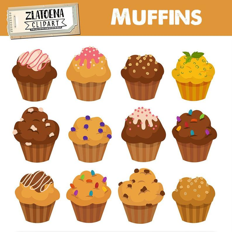 Muffin Clipart Muffins clipart Cupcake Muffin Digital Bakery clipart Bake  clipart Cupcake clipart Food clip art Sweets clipart.