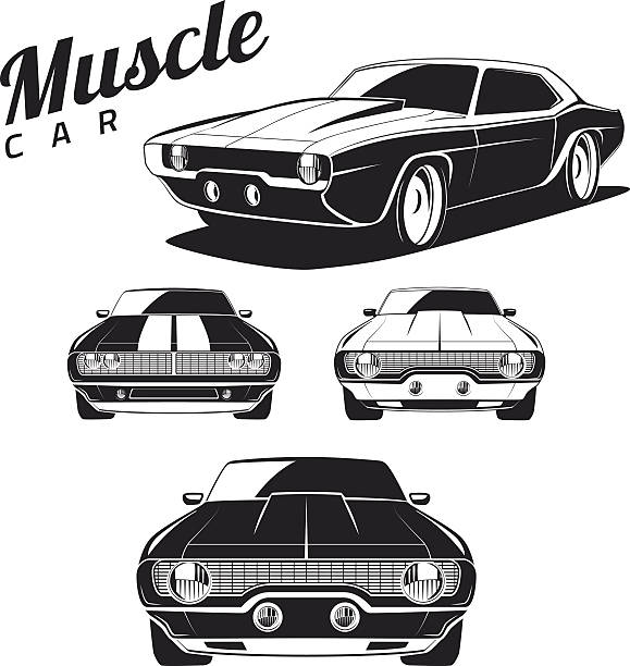 Best Muscle Car Illustrations, Royalty.