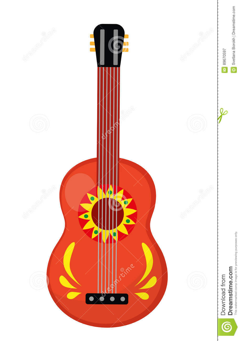 Cuatro Guitar Icon, Flat Style. Mexican Musical Instrument. Isolated.