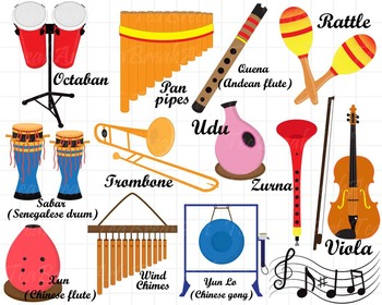 26 PNG/JPG Musical Instruments ClipArt Set 2.