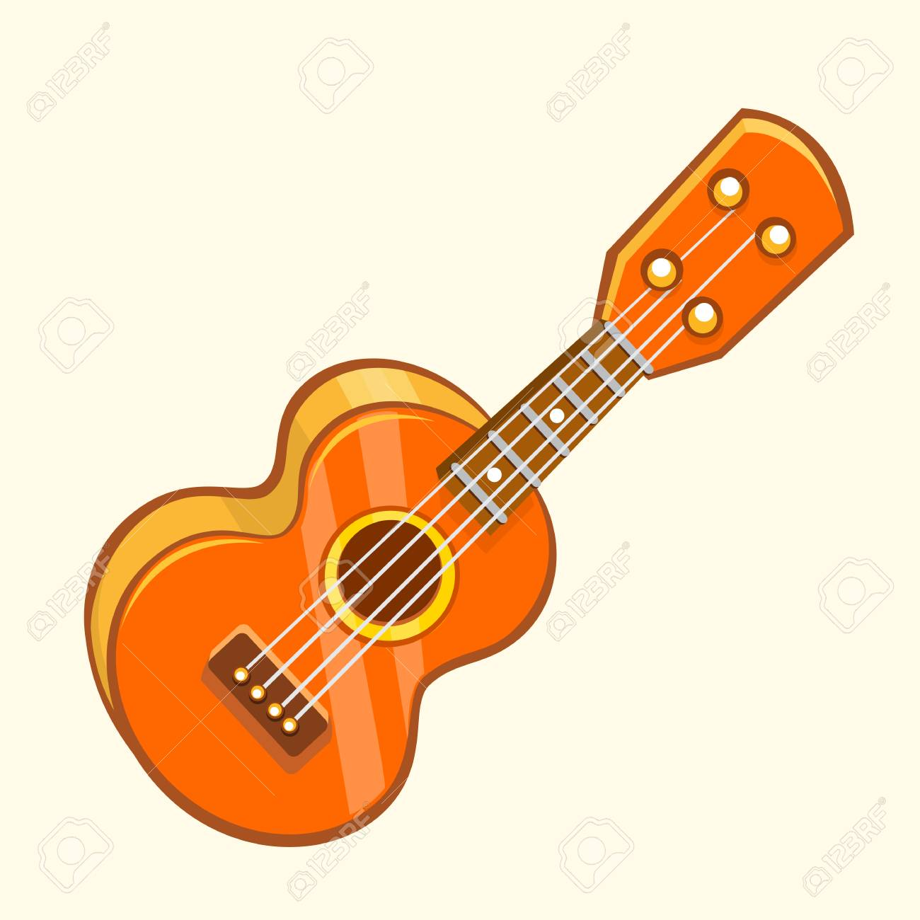 Cartoon vector illustration of acoustic guitar or ukulele. Cartoon...