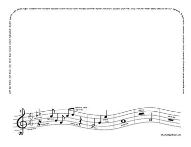 Music note border music notes vocabulary landscape blank teacher.