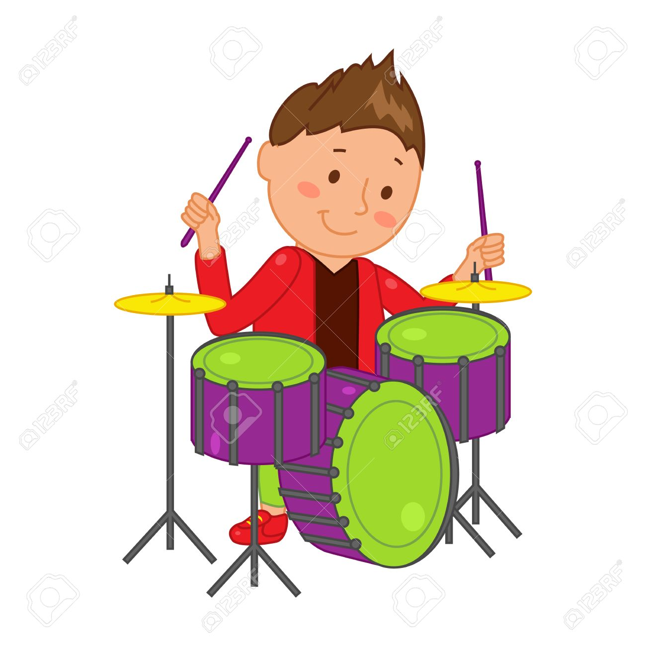 Cartoon musician kid. Vector illustration for children music.