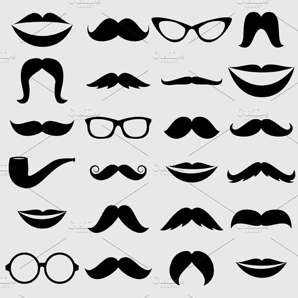 Mustache & Lips Vectors and Clipart.