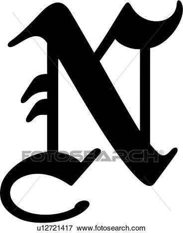 , alphabet, old english, capital, letter, lettered, n, uppercase, Clip Art.