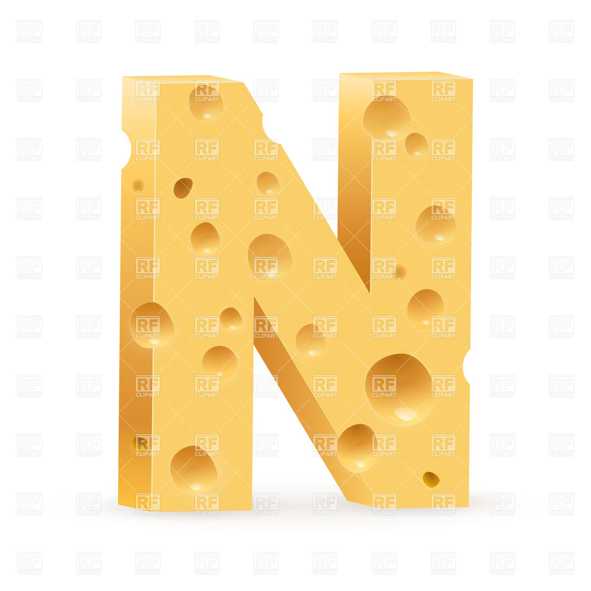 Cheese font, letter N Stock Vector Image.