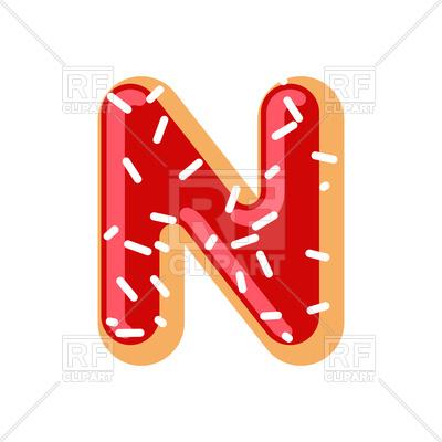 Letter N donut font Vector Image.