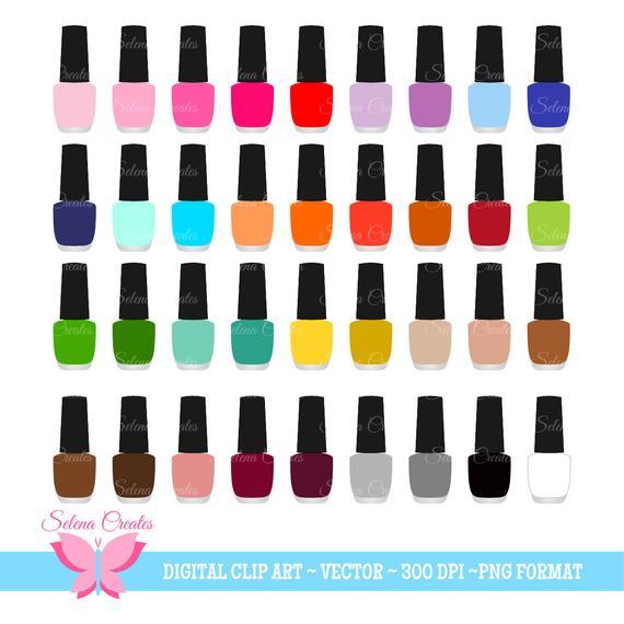 Nail Polish Clipart Set, Digital Clipart, Nail Color, Nail Salon, Vector,  PNG Format.