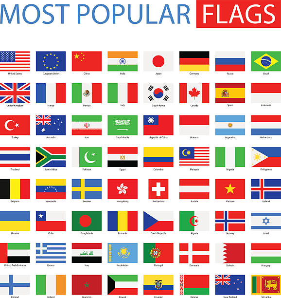Best National Flags Illustrations, Royalty.