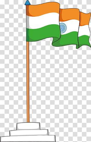 Round orange, white, and green flag of Indian art, Flag of India.