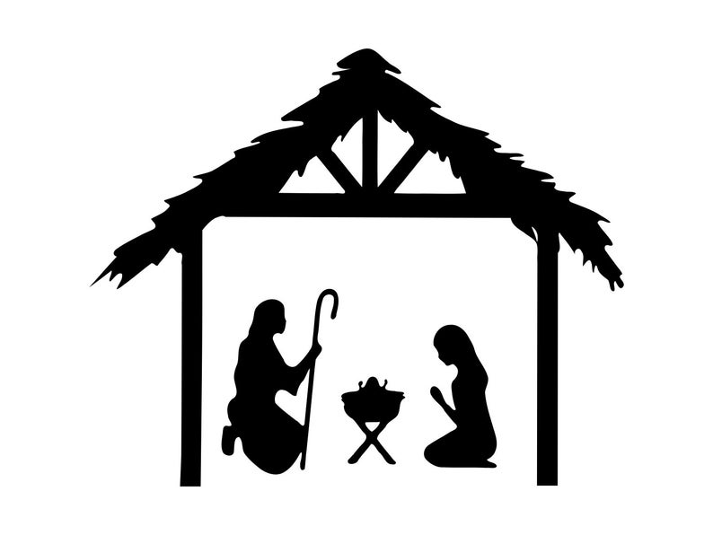 Nativity Svg Jesus Clipart Christmas Clip Art Nativity Silhouette Svg  Nativity Svg Cut File Nativity Vector Clipart Dxf png.