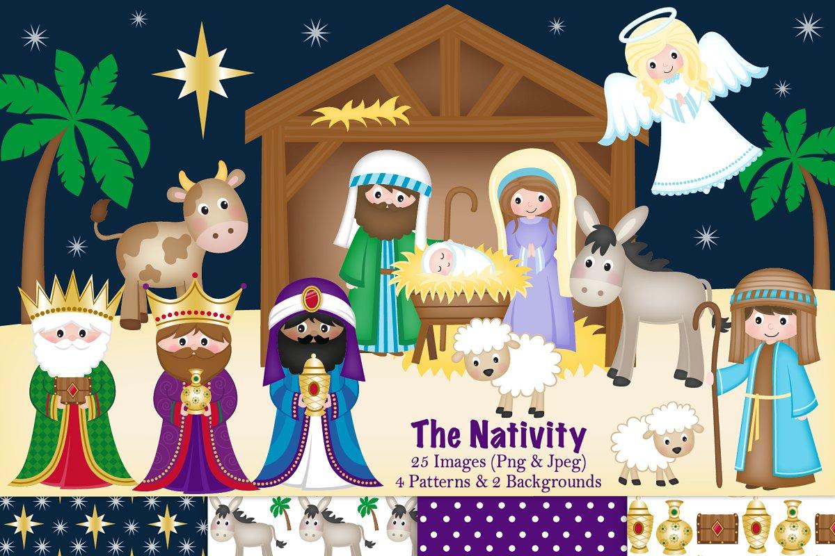 Christmas Nativity Clipart & Paper.