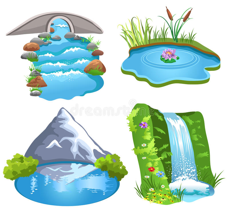 Collection of 14 free Pond clipart water fall aztec clipart vintage.