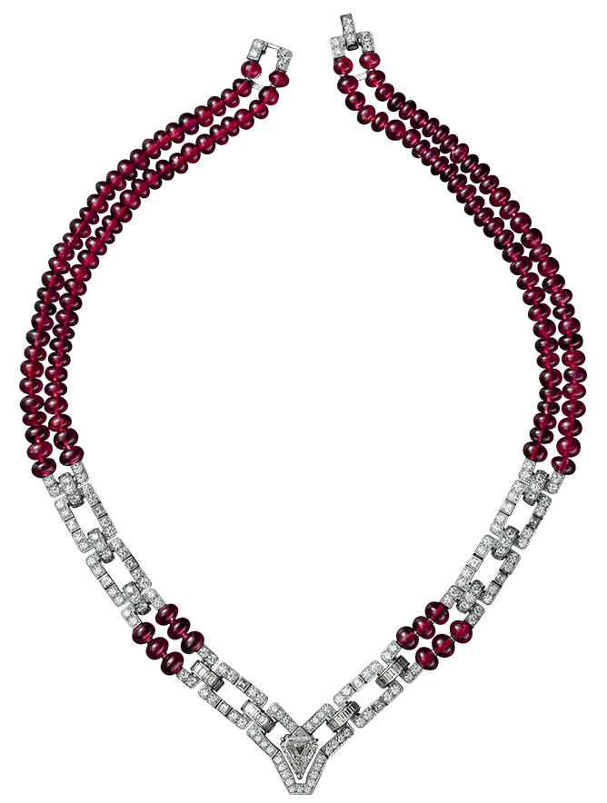 Red and White Necklace PNG Clipart.
