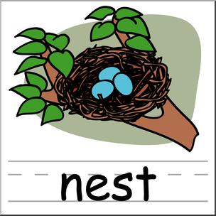 Clip Art: Basic Words: Nest Color Labeled I abcteach.com.