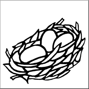 Clip Art: Nest B&W I abcteach.com.
