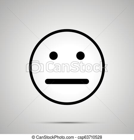 Neutral face emoticon for rate of satisfaction level, simple black  silhouette.