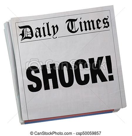 Big Surprise Newspaper Headline Huge Shock 3d Illustration.