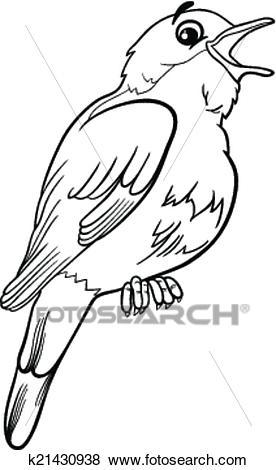 Nightingale bird coloring page Clip Art.