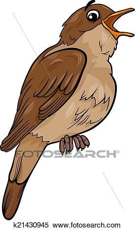 Nightingale bird cartoon illustration Clipart.