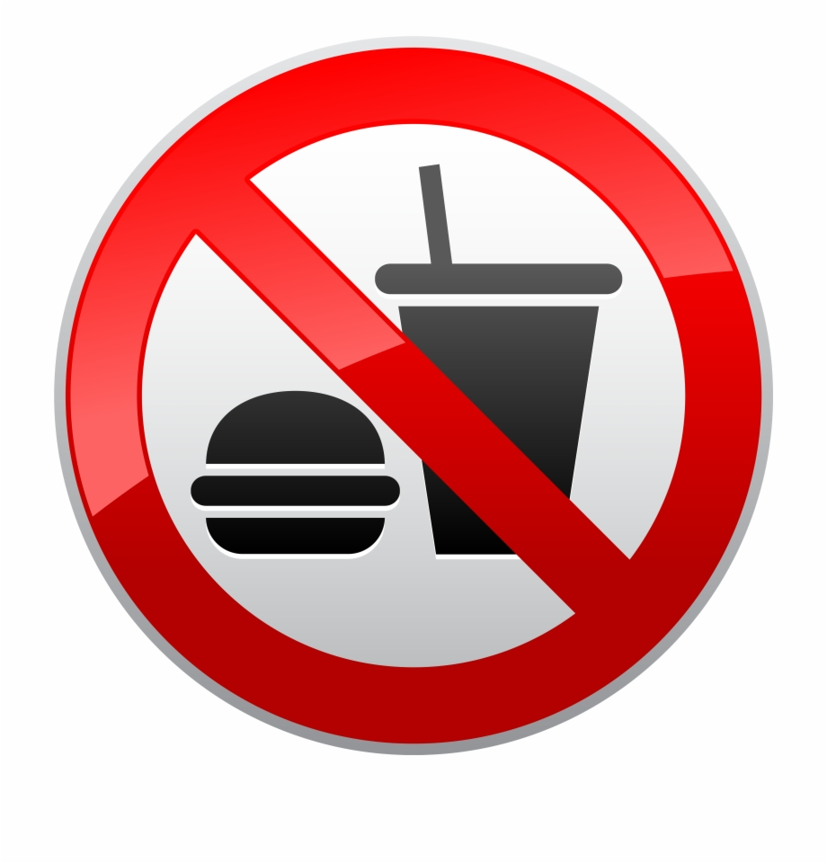 No Eating Or Drinking Prohibition Sign Png Clipart.