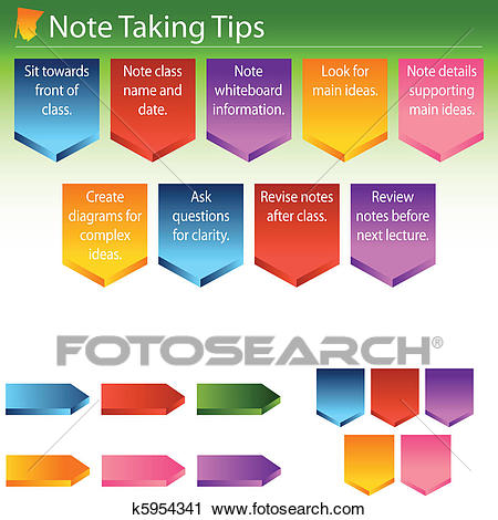 Note Taking Tips Clipart.