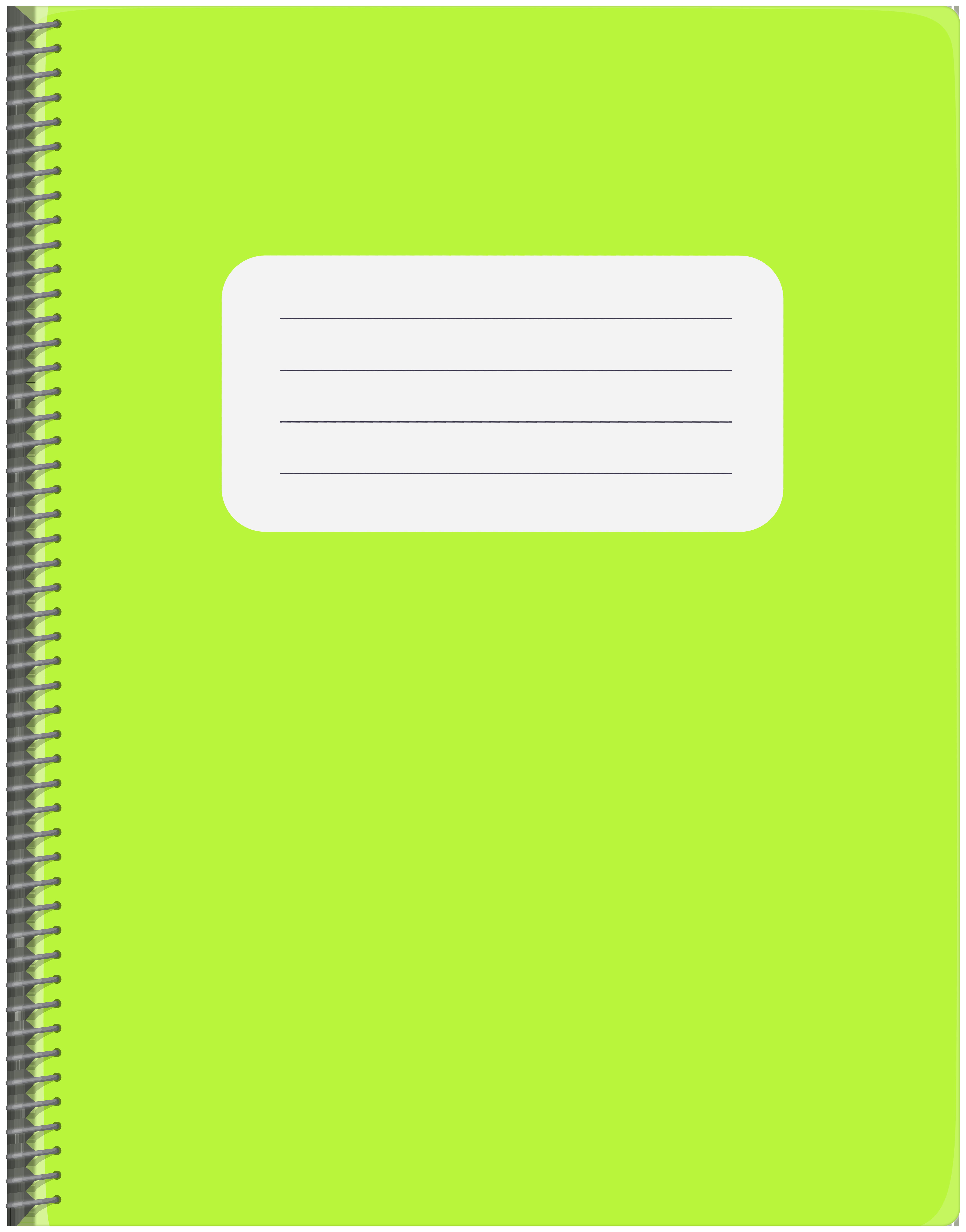 Spiral Green Notebook PNG Clip Art.