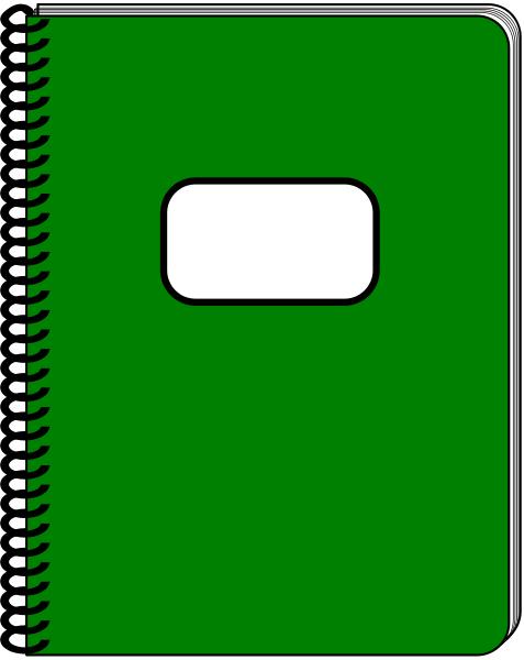 spiral notebook dark green.