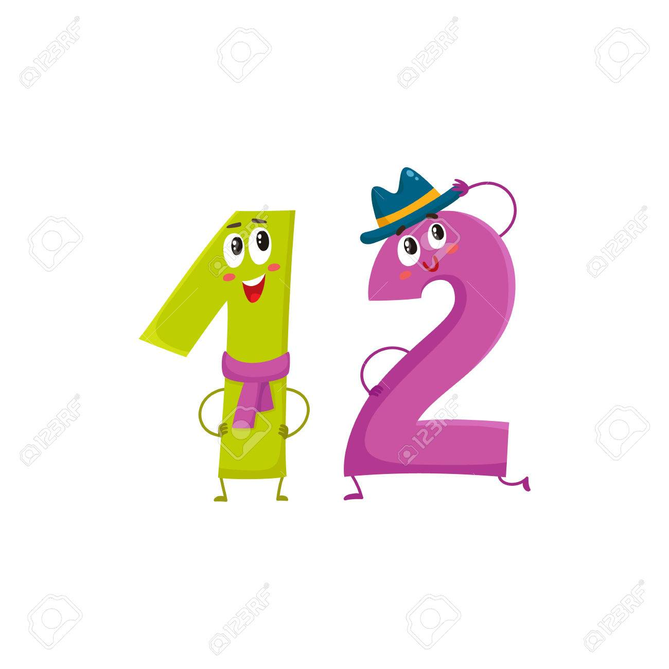 Cute and funny colorful 12 number characters, cartoon vector...