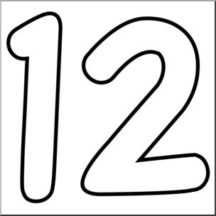 Clip Art: Number Set 09: 12 Outline.
