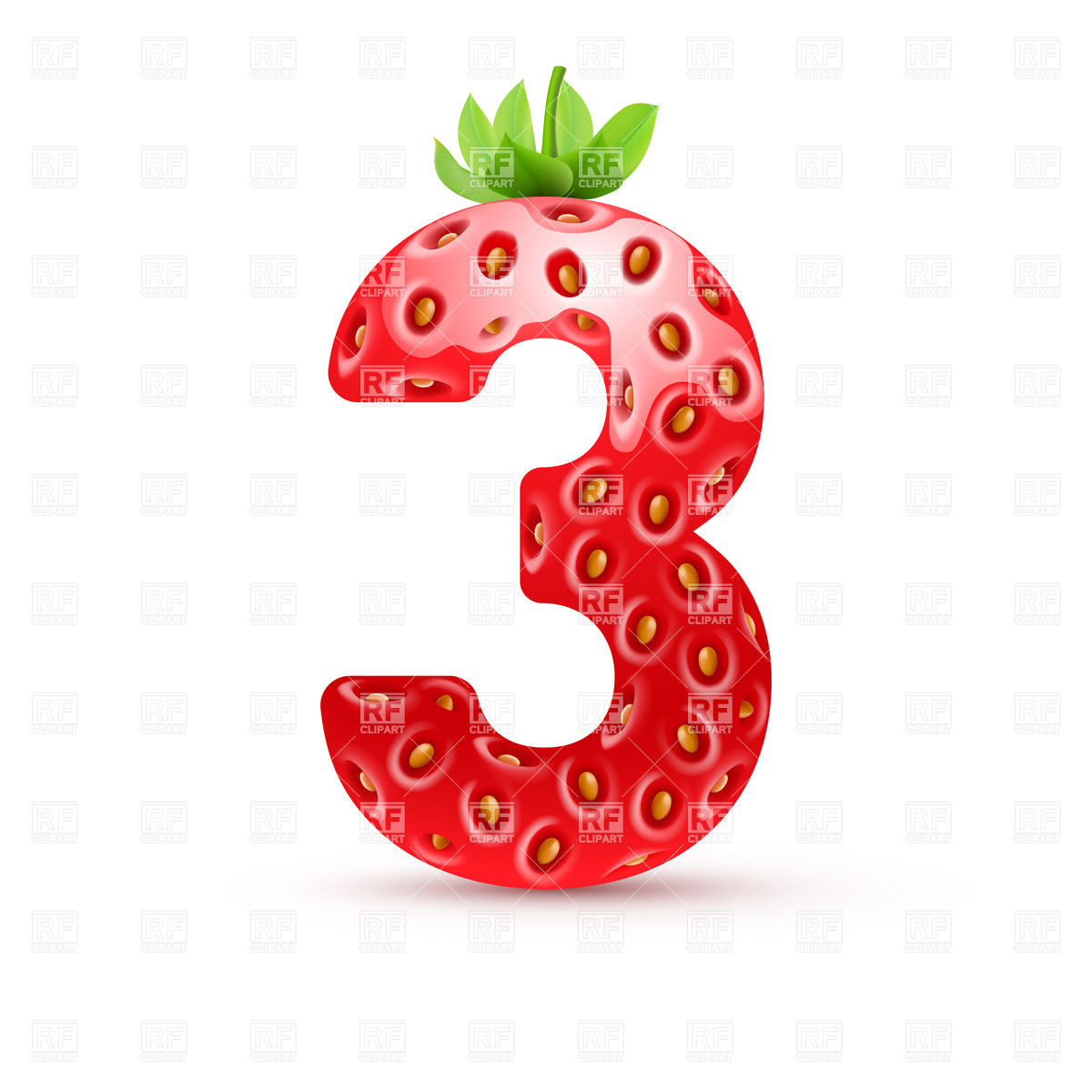 Strawberry style font, number 3 Stock Vector Image.