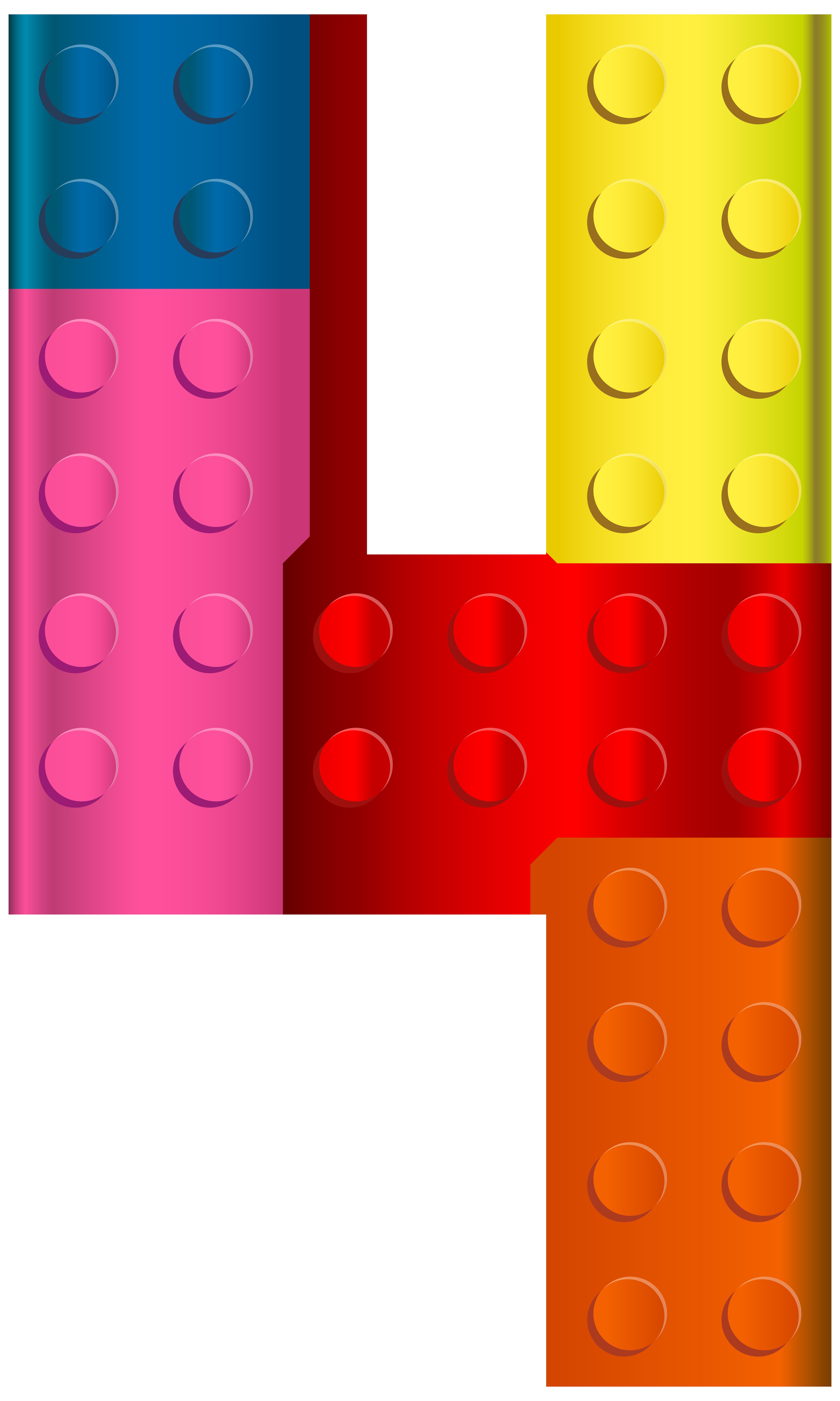 Lego number four transparent clip art image.