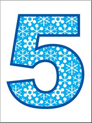 Clip Art: Number Set 5: Snowflakes 05 Color I abcteach.com.