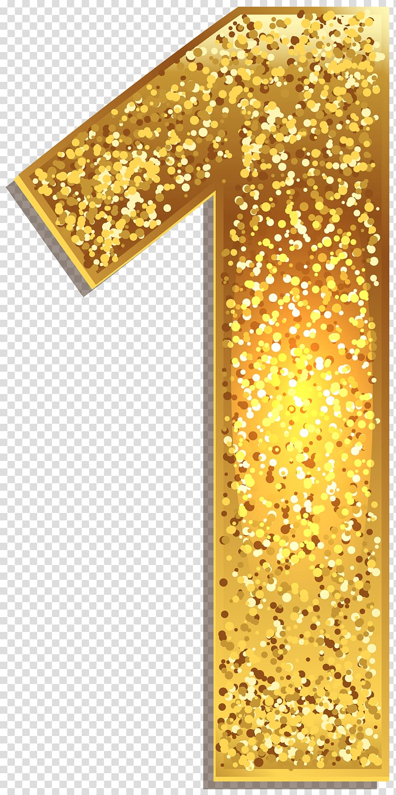 Brown 1 freestanding decor, Number One Gold Shining transparent.
