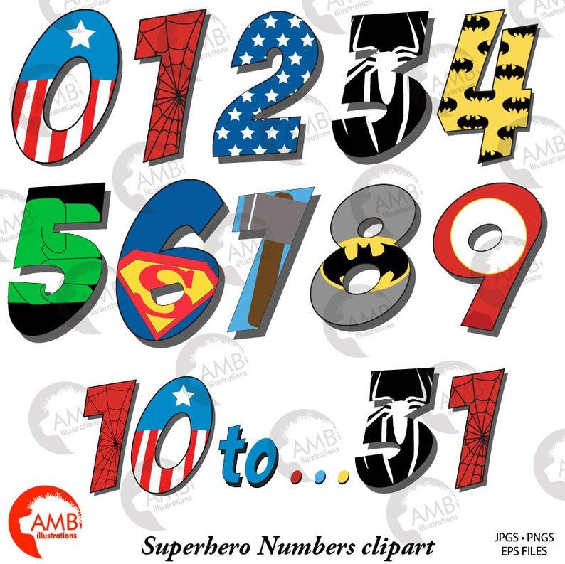 Superhero numbers clipart, Numbers clipart, Superhero numbers 1.